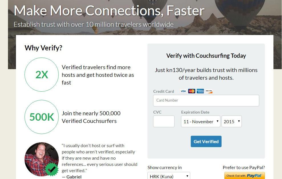 Couchsurfing - ako želite da vam više vjeruju, verificirajte profil Foto: Photopin